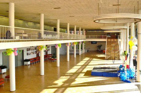 Цветы из воздушных шаров украшены  все колонны в большом уютном холле