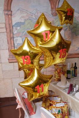 Оригинальная идея оформление номеров на столы гостей из фольгированных воздушных шаров из золотых звезд