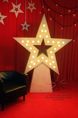 Объемная, отдельностоящая звезда (материал дерево) с ретро лампочками 1,5 м х 1,5 м