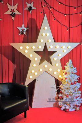 Ретро Звезда с лампочками и ёлкой