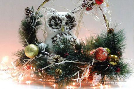 Новогодние эксклюзивные подарки - Сова в корзинке