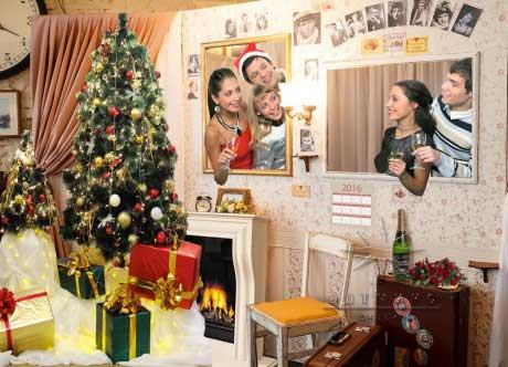 Фотозона классика винтаж в новогоднем оформлении праздника