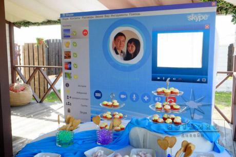 Тематическое оформление фото зоны, в стиле Skype