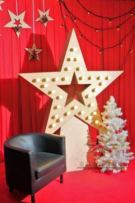 Новогодняя фотозона Звезда с ретро лампочками