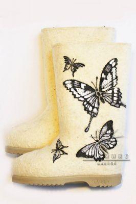 Валенки белые №1 Бабочки, серебро
