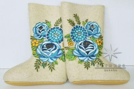 Валенки белые Синие розы