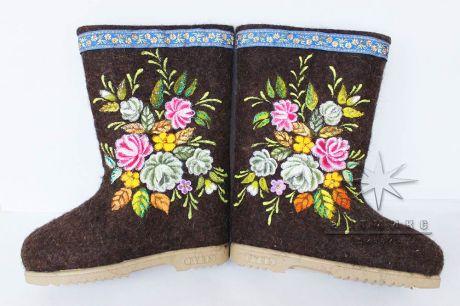 Расписные валенки № 14 Букет цветов