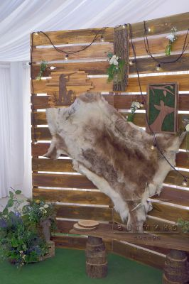 Деревянный фон и элементы декора в стиле охотничьей добычи
