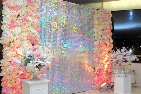 Перламутровые пайетки с декоративными цветами для фотозоны