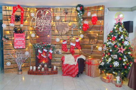 Фотозона Дом Деда Мороза на новогоднюю вечеринку