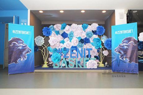 Фотозона - весенняя декорация в спортивном комплексе Юбилейный на Кубке Европы по баскетболу