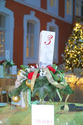 Рождественские композиции в мартинке с гостевыми рассадочными карточками