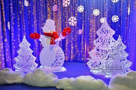 Фотозона Снеговик и ёлочки