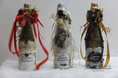 Оформления бутылок шампанского на Новый год