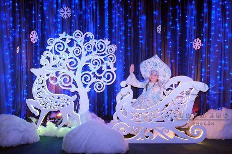 Снегурочка в санях и в упряжке Олень