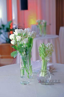 Белые тюльпаны в оформлении зала