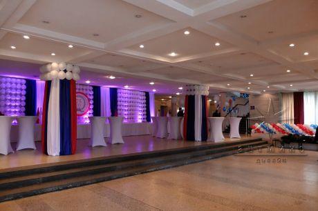 Украшение шарами,  тканями и баннерами на юбилей предприятия ЦТСС