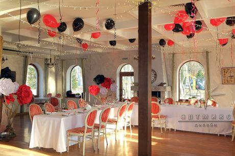 Оформление ресторана на день рождения в красном и чёрном оттенке