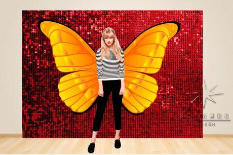 Фотозона Динамические (красные) пайетки и крылья бабочки