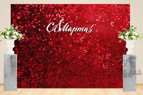 Фотозона Динамические пайетки и колоны с цветочными композициями (Красного цвета)