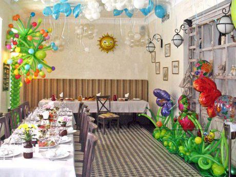 Оформление зала в ресторане на детский день рождение