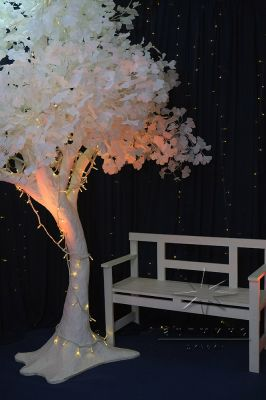 Объёмное дерево с веточками Гинкго и скамейкой