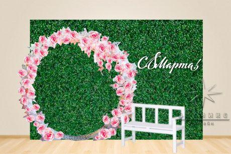 Фотозона Круглая арка и стена из зелени