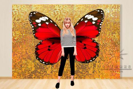 Фотозона Динамические (золотые) пайетки и крылья бабочки