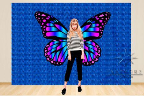 Фотозона Динамические (в синем) цвете пайетки и крылья бабочки