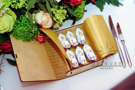 Деревянный подарок (книга / бонбоньерка) - для коллег, друзей и родственников