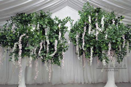 Искусственное дерево с зеленой кроной и цветами Глицинии_2