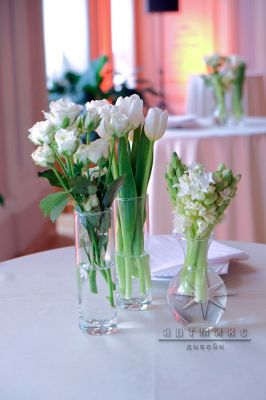 Тюльпаны в вазе для столов торжественного мероприятия