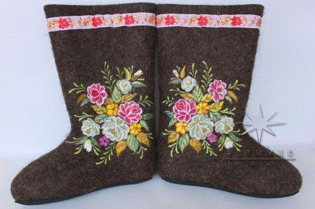 Валенки серые № 14 Букет цветов
