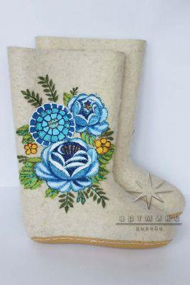 Белые валенки Синие розы