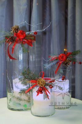 Новогодние вазы Цилиндр со свечой
