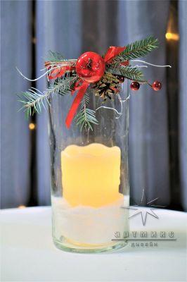 Новогодняя ваза Цилиндр со свечой