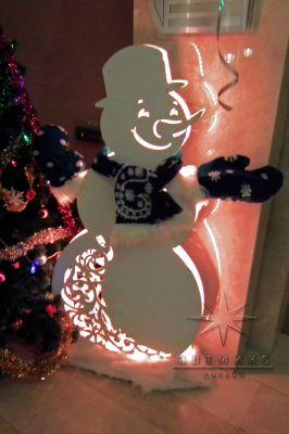 Новогодняя декорация / Снеговик из серии ажурные фигуры