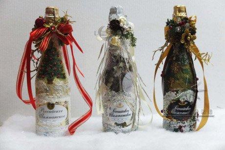 Украшение бутылок на новый год