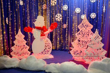 Новогодняя световая фотозона Снеговик и ёлочки